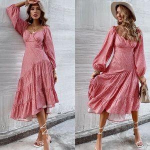Pink dot long sleeve ruffle hem dress